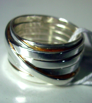multi-band silver ring