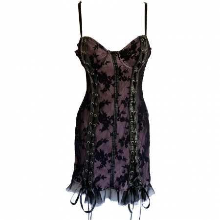 Lip Service black lace over pink mini dress