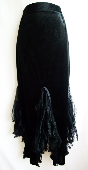 velvet skirt with lace inserts