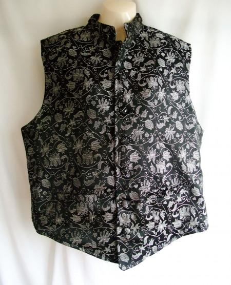 grandad silver vine waistcoat