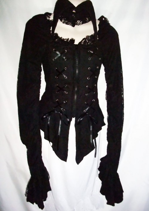 pointed collar scoop neck gothic topp