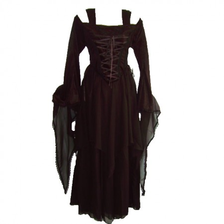 gothic dress with cut-out shoulder