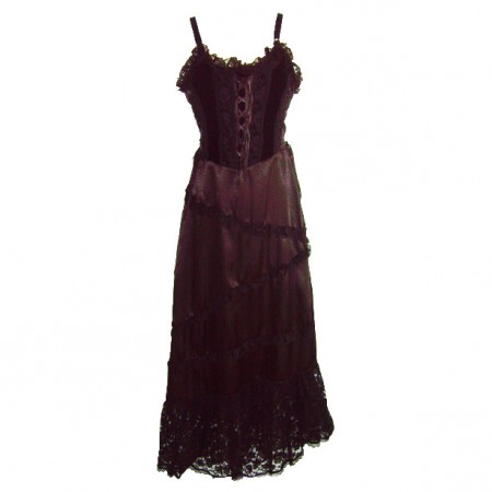 diagonal frill hem gothic dress