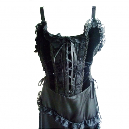 Raven black strappy dress bodice with diagonal frill skirt