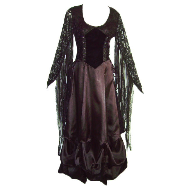 ruched skirt gothic dress
