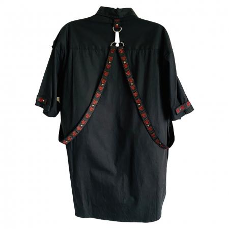Red skull straps gothic shirt