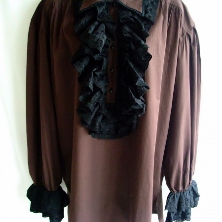 brown frill shirt