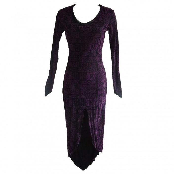 purple demon print gothic dress