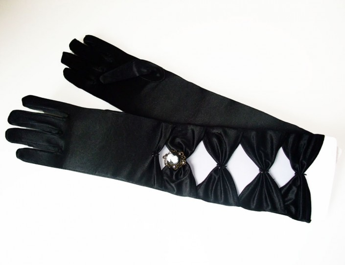 long black satin gloves with cameo