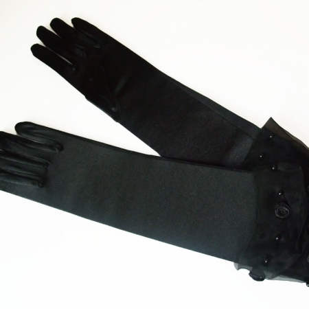 black satin gloves with rosette cuff