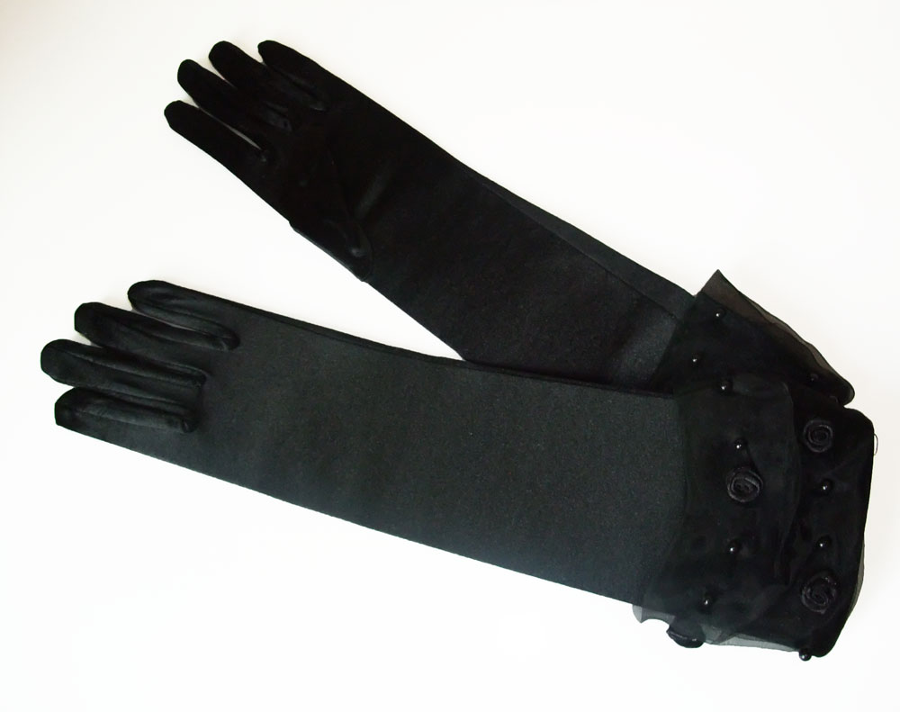 Ga 59 Long Black Satin Gothic Gloves With Rosette Cuff image