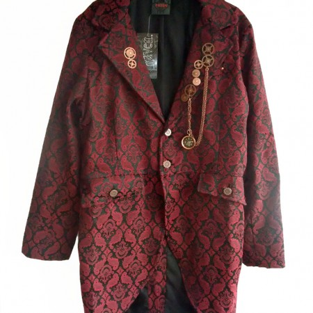 Men's red brocade long jacket