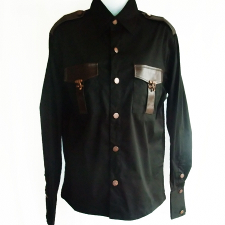 Steampunk breast pockets gothic shirt