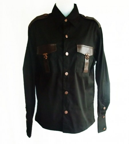 Steampunk breast pockets gothic shirt