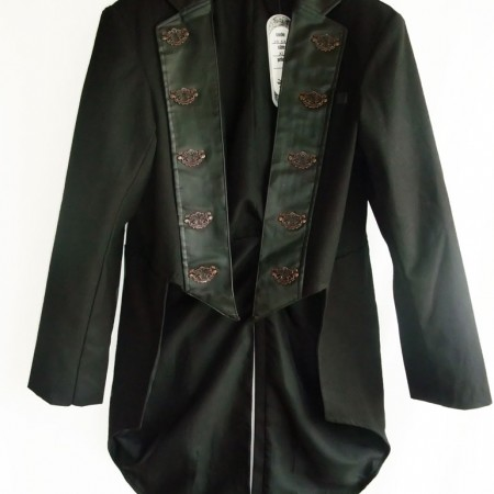 steampunk gothic jacket with faux leather