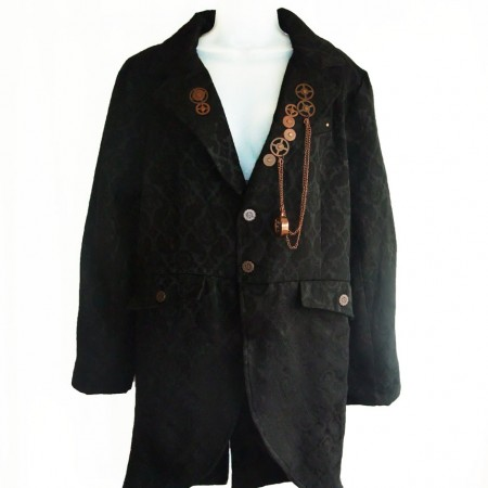 Man's black brocade gothic jacket