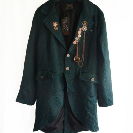 Man's teal brocade gothic jacket