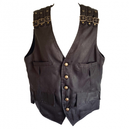 pinstripe waistcoat bronze buckle shoulder straps