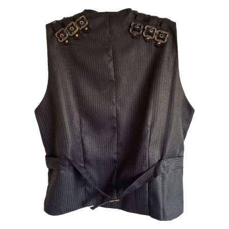 pinstripe waistcoat bronze buckle shoulder straps (back)