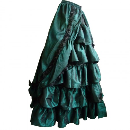 teal taffeta gothic double skirt
