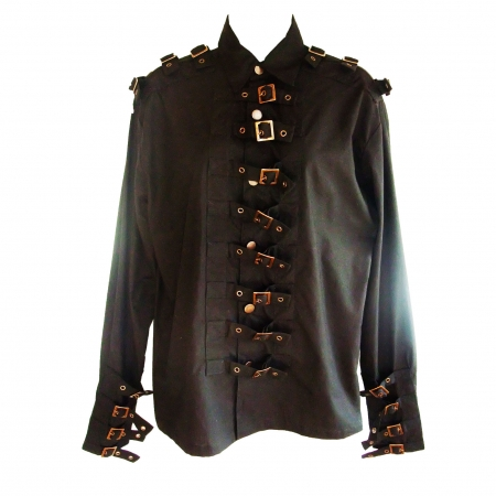 men's gothic buckle front shirt