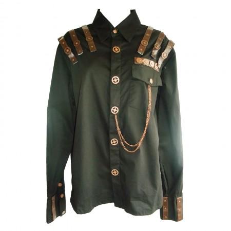 brown shoulder straps gothic shirt
