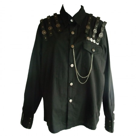 multi strap shoulder gothic shirt