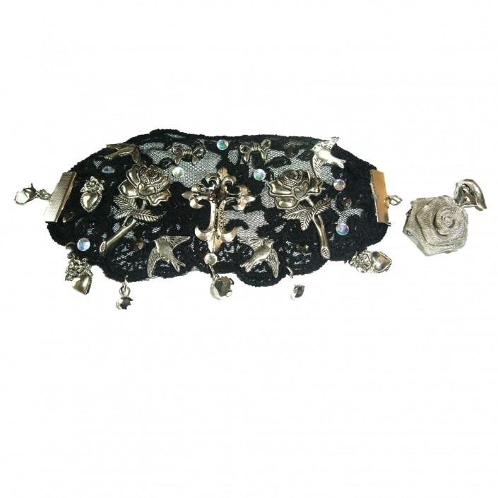 black lace gothic cuff bracelet