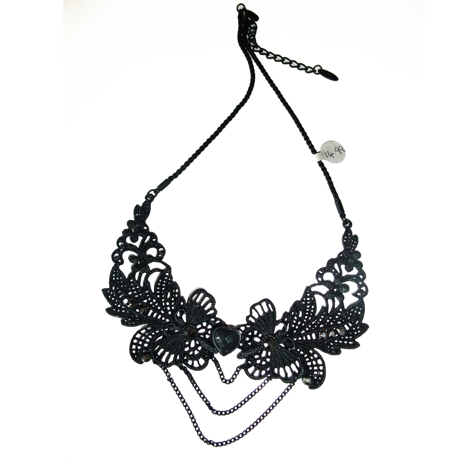 Gothic Necklace In Black Metal Lace Effect With Pendant Chains image