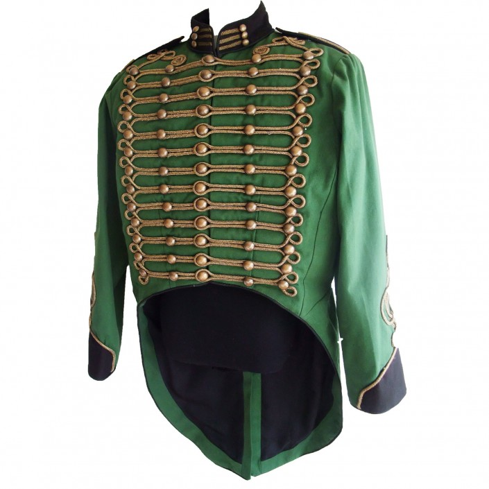 steampunk green military jacket with tails