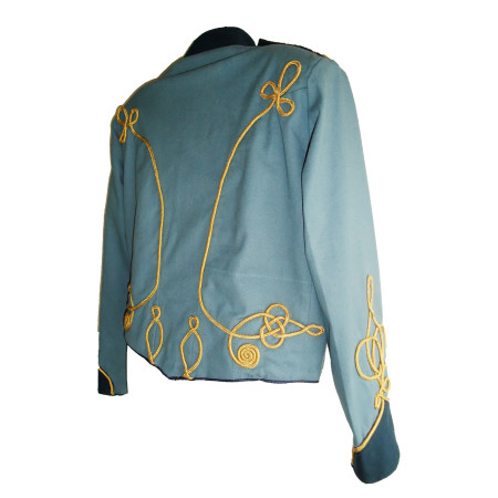 back view blue military jacket with gold braiding
