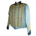 blue military jacket with gold braiding