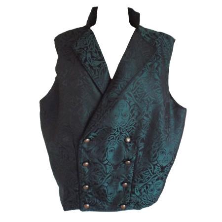 teal Medusa print waistcoat