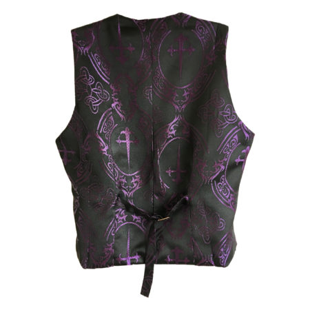 black waistcoat with purple dagger print (back)