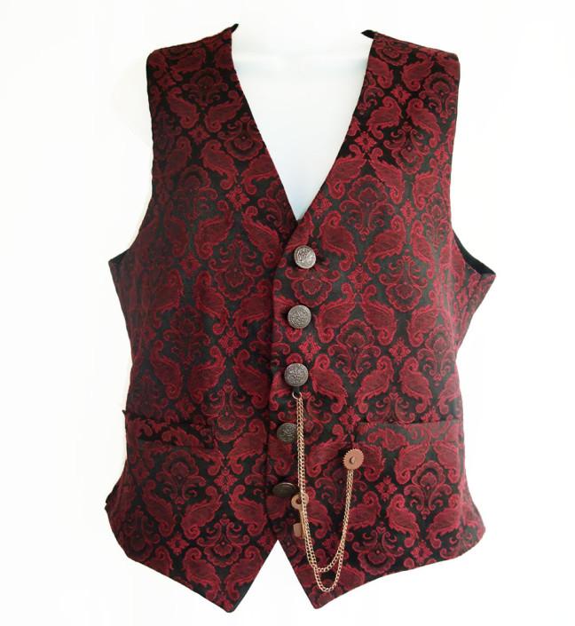 Red brocade steampunk waistcoat