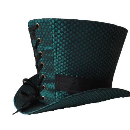 green taffeta high top hat back view