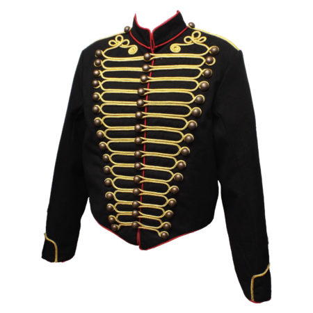 Black military jacket with red edging