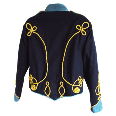 navy military jacket back view