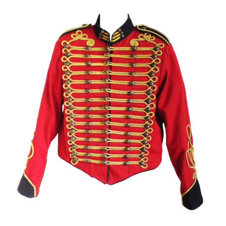 red military jacket with black trim