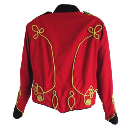 red military jacket with black trim back view
