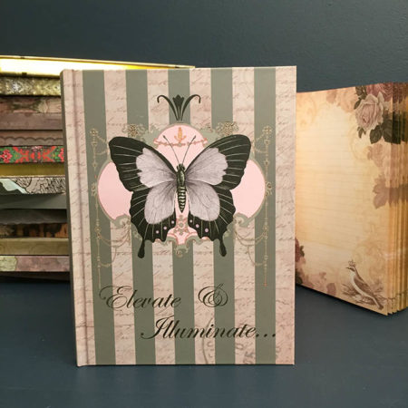 vintage black butterfly notebook