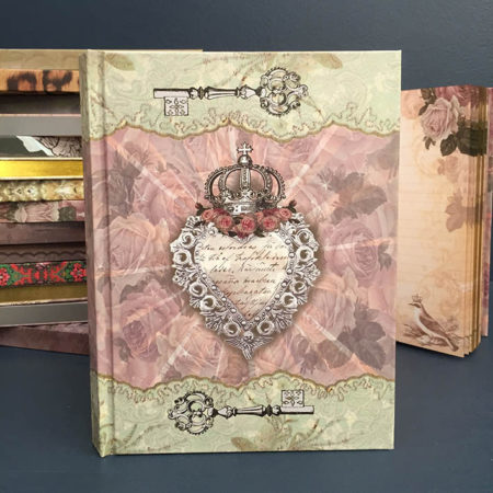 vintage heart & crown notebook