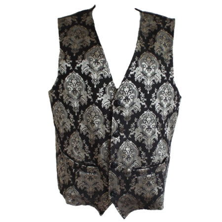 grey and silver on black brocade waistcoat