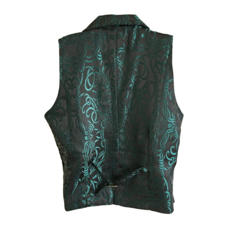 waistcoat with lapels in teal barbed wire (back)