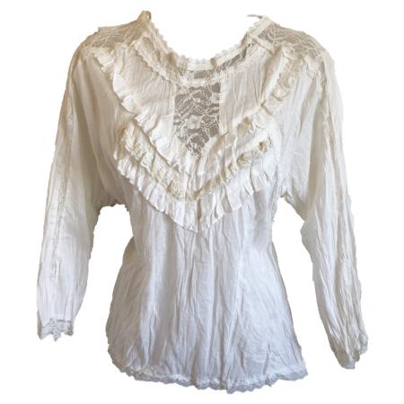 steampunk cream blouse