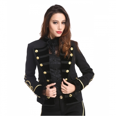 women's black military jacket