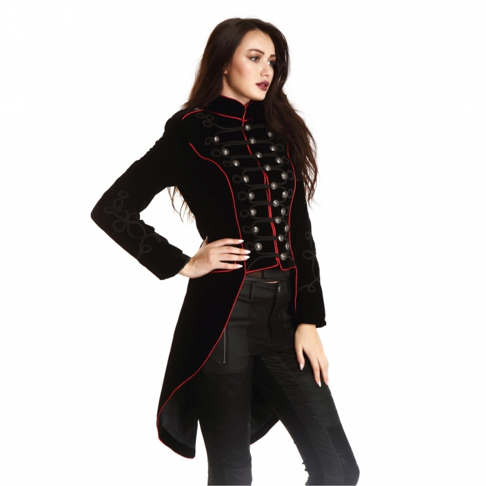 women's red military tail jacket with red piping
