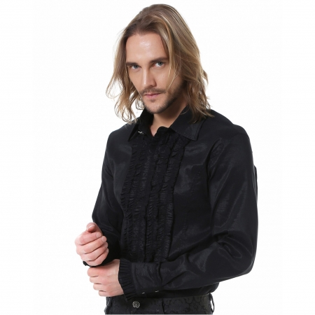 black Pentagramme gothic frill shirt