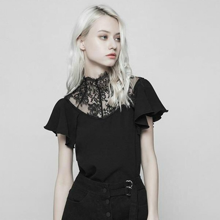 lace inset neck gothic blouse