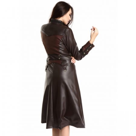 brown faux leather coat back view